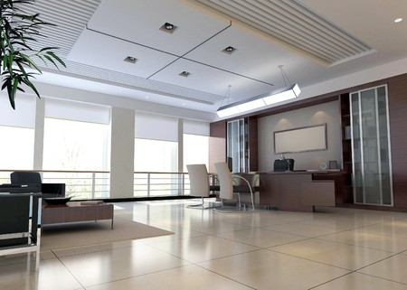 office space: an office room with nobody. 3D render