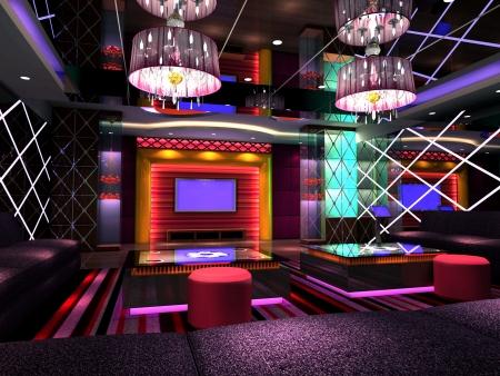 룸, 홀의 현대적인 디자인 클럽. 3D 렌더링 스톡 콘텐츠