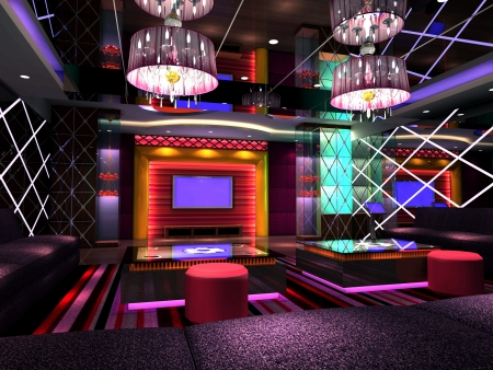 night club: club di design moderno di camera, sala. Rendering 3D