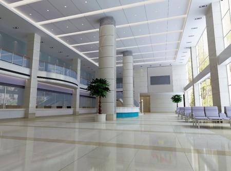 canicas: moderno dise�o interior del sal�n, pasillo. Procesamiento 3D  Foto de archivo