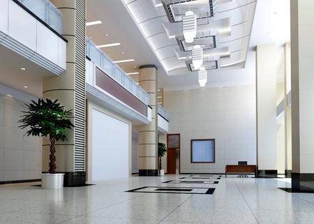 quartier g�n�ral: design moderne int�rieur de la salle, couloir. Rendu 3D