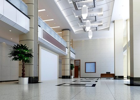 bank office: modern design interior of hall,corridor. 3D render