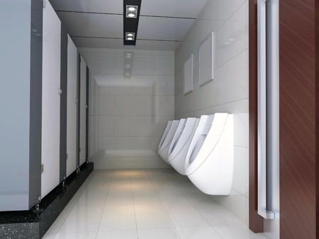 urinal: modern design interior of stylish bathroom. 3D render Stock Photo