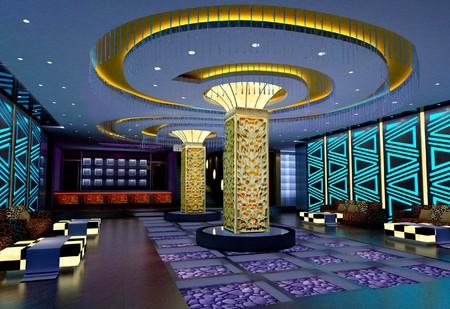 club de design moderne de salle, couloir. Rendu 3D  Banque d'images
