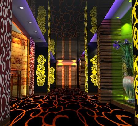 복도, 홀의 현대적인 디자인 클럽입니다. 3D 렌더링 스톡 콘텐츠 - 7154858