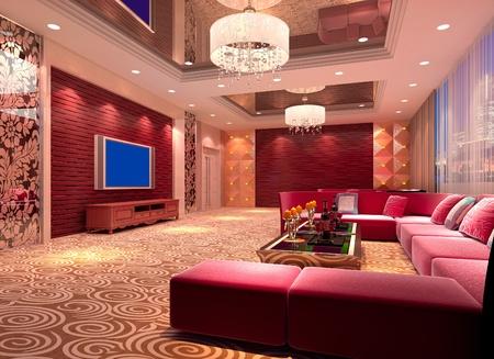 club de design moderne de salle, hall. Rendu 3D