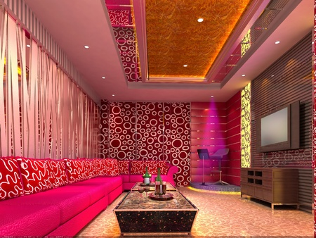 modern design club of room, hall. 3D render photo