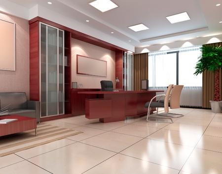 아무도없는 사무실 방. 3D 렌더링