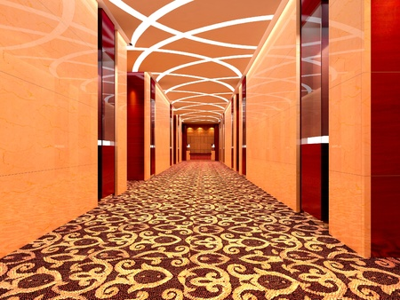 futuristic corridor modern. 3D render photo