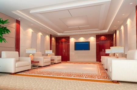 reception room: a reception room.3d render Stock Photo