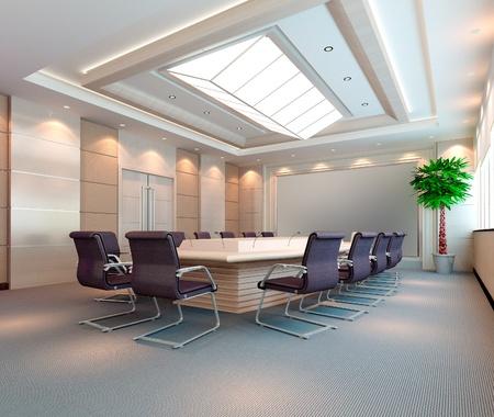 컴퓨터는 현대 회의장의 3D 이미지를 생성했습니다.