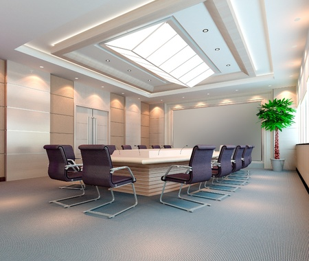 De computer gegenereerde 3d beeld van de moderne conference hall Stockfoto