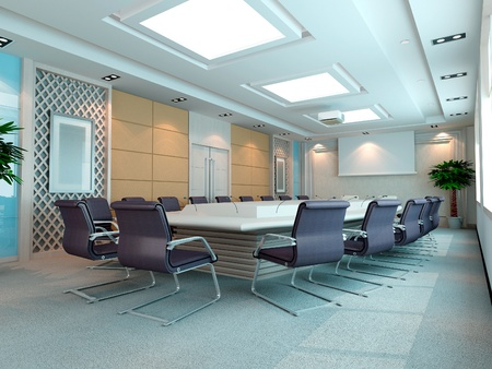 The computer generated 3d image of the modern conference hall photo
