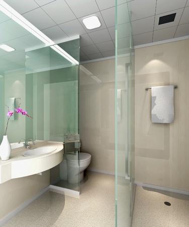 washroom: moderno dise�o interior del ba�o con estilo. Procesamiento 3D Foto de archivo