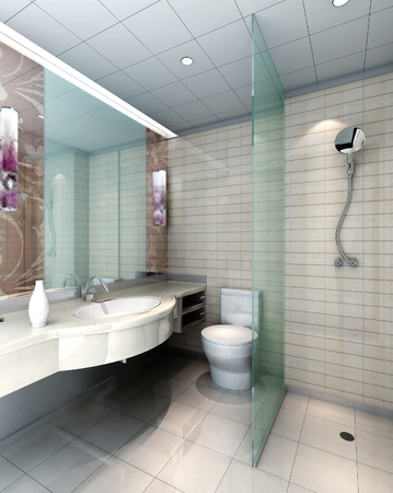 modern design interior of stylish bathroom. 3D render photo