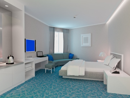 modern design interior of bedroom, hotel rooms. 3D render Stock Photo
