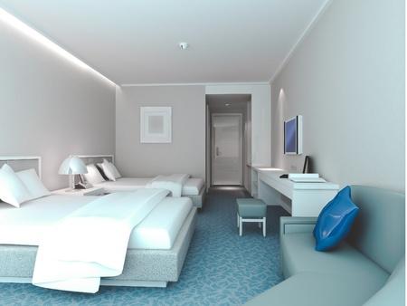 modern design interior of bedroom, hotel rooms. 3D render Stock Photo - 8999821