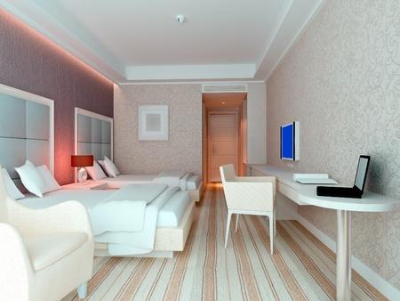 modern design interior of bedroom, hotel rooms. 3D render Stock Photo - 8999851