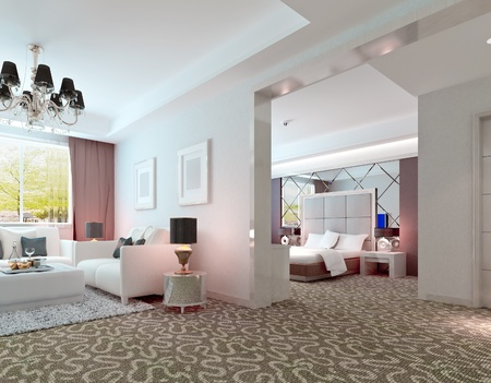 luxury hotel room: 3D deluxe hotel suite interior rendering