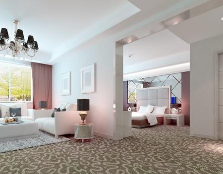 3D deluxe hotel suite interior rendering