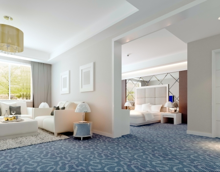 3D deluxe hotel suite interior rendering photo