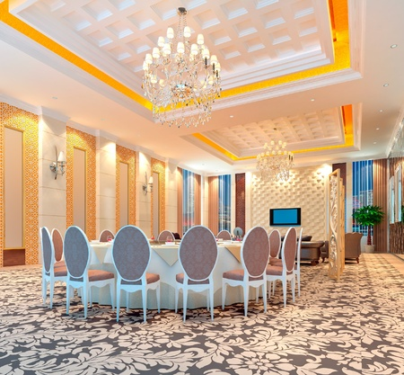 modern restaurant interior. 3D render photo