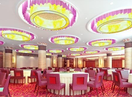 현대적인 레스토랑 인테리어. 3D 렌더링