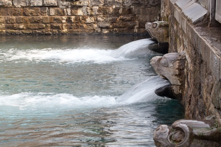 Urban Park - springs. water seepage Stock Photo
