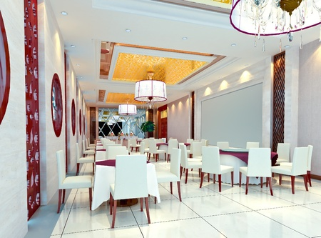 modern restaurant interior. 3D render Stock Photo - 9260435