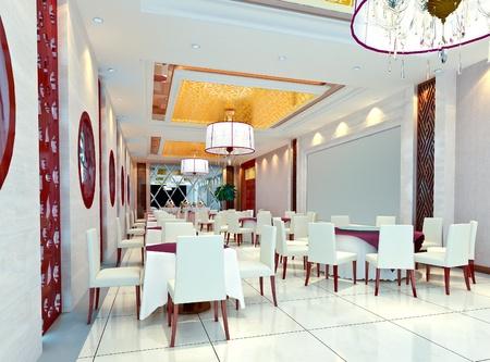 modern restaurant interior. 3D render