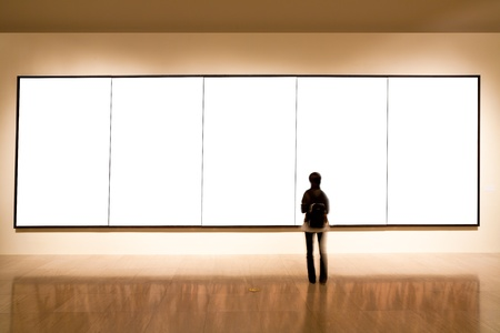 picture person: shanghai art gallery, girl look at the blank frame