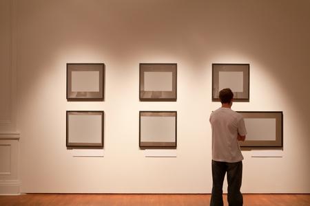상하이 아트 갤러리, 빈 프레임을 보면 사람 스톡 콘텐츠 - 9260472