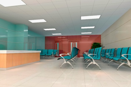 architectural lighting design: modern design interior of business hall. 3D render