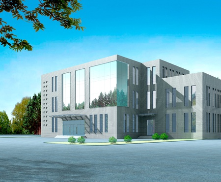 building exterior: 3d construction of office building. Concept - modern city, modern architecture and designing Stock Photo
