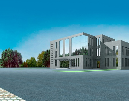 3d construction of office building. Concept - modern city, modern architecture and designing photo