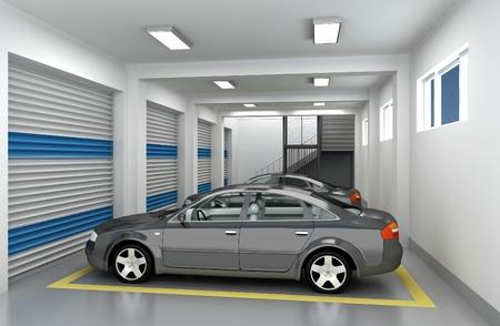 Stationnement souterrain et voiture. Rendu 3D