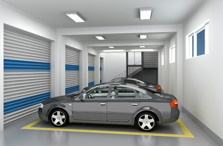 car in garage: Underground parking garage and car. 3D render Stock Photo