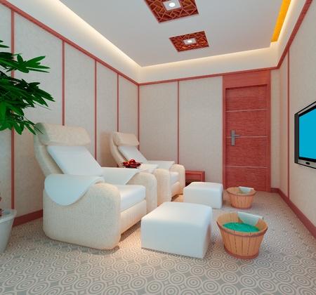 massage pied: salle de massage des pieds, 3D render Banque d'images