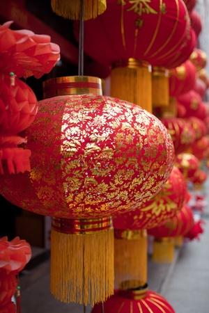 papierlaterne: Rote Laterne mit chinesischen traditionellen Mustern in Fr�hlingsfest (Chinesisches Neujahr)