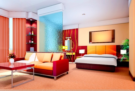 modern design interior of bedroom and living-room  3D render Stock Photo - 12801124