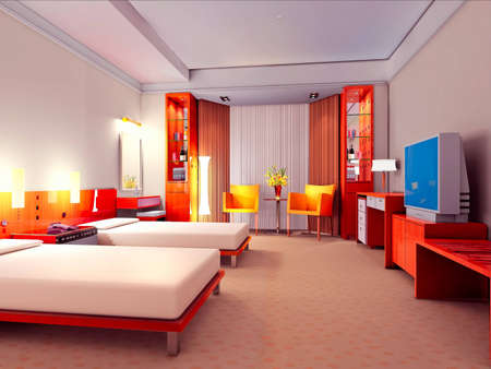 modern design interior of bedroom  3D render photo