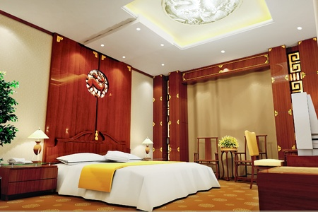 modern design interior of bedroom  3D render Standard-Bild
