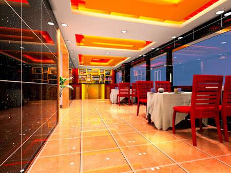 modern design inter of living-room and restaurant  3D render Stock Photo - 12801133