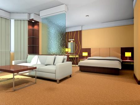 침실의 현대적인 디자인의 인테리어와 거실 3D 렌더링 스톡 콘텐츠