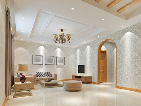 거실 3D의 현대적인 디자인 인테리어 렌더링