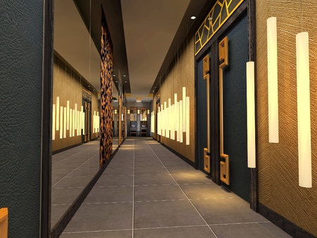 futuristic corridor modern,hall  3D render photo