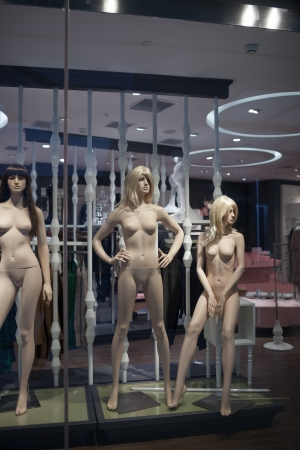 mannequin in showcase, no clothes, dummy  photo