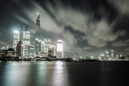 office lighting: shanghai Pudong cityscape viewed from the bund, the beautiful city scenery Stock Photo