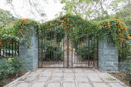 puertas de hierro: puerta de hierro forjado, un hermoso jardín verde Foto de archivo
