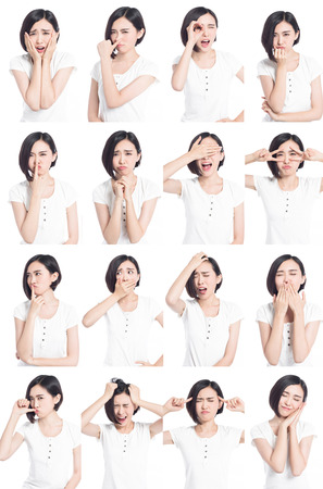 collage of chinese woman different facial expressions photo